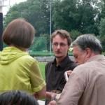 Im Gespräch: Landtagsabgeordnete Renate Schmidt, SPD Kreisvorsitzender Thomas Engler und Kreisvorstandsmitglied Dieter Beneke.